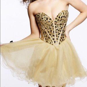 Sherri Hill gold cocktail dress